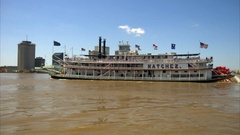 River Boat on Mississippi river French quarter New Orleans Louisiana Stock Footage