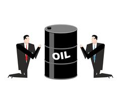 Businessman praying for oil. Prayer barrel of petroleum. Pray for fuel Piirros
