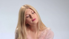 Beautiful woman with sad expression Stock Footage
