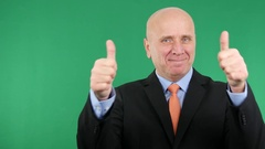 Confident Businessman Gesturing Thumbs Up Victory Sign Good Job Presentation. Stock Footage