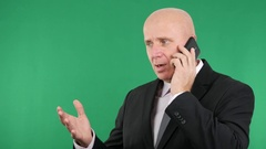 Irritated Office Functionary Receive a Bad News Phone Call Losing Financial. Stock Footage