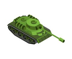 Military tank isolated. Army war machine on white background Stock Illustration