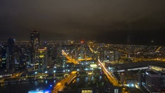 Night scene at Melbourne CBD. Aerial view. Stock Footage