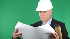 Construction Company Businessman Engineer with Paper Plans Analyzing Project. Stock Footage