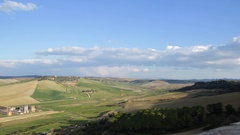 Overview over etruscan necropoli in Tarquinia Italy Stock Footage