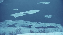 The winter river with ice blocks Stock Footage