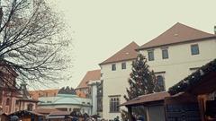 Prague, Czech Republic-December 24, 2016: Wooden booths offering souvenirs Stock Footage