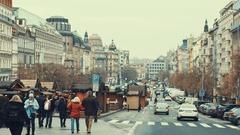 Prague, Czech Republic-December 24,2016: Wooden booths offering souvenirs during Stock Footage