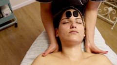 Upper back neck and head Massage Stock Footage