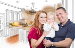 Military Family In Front of Kitchen Drawing Photo Combination Kuvituskuvat