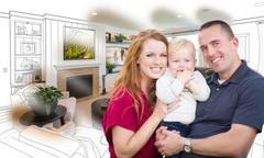 Military Family In Front of Living Room Drawing Photo Combination Kuvituskuvat