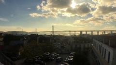 Sunshine Over Lisbon Famous Bridge Time Lapse Stock Footage