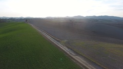Aerial shot, gorgeous tuscany hills landscape with sun flare, flying abo.. Stock Footage