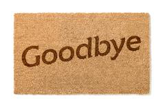 Goodbye Welcome Mat on White Stock Photos
