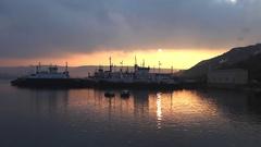 Sunrise in Crimea sunset in Sevastopol, ships Black Sea Stock Footage
