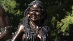 Native American sculpture, Museum of Florida History, Tallahassee, USA, close up Stock Footage