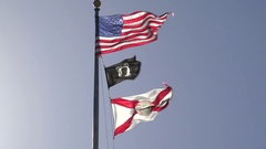 US, Florida State and POW Flags, Tallahassee, USA Stock Footage