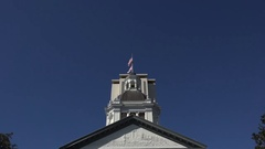 Zoom into flags on Historic Capitol Museum, Tallahassee, Florida, USA Stock Footage