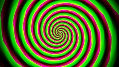 Animated abstract illustration of yellow green red spirals rotating on white Stock Footage