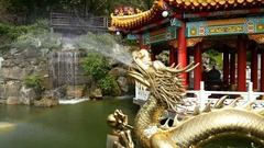 Dragon head spraying water at Zhinan Temple cable car station Stock Footage