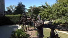 Native American statues, Museum of Florida History, Tallahassee, USA, zoom in Stock Footage