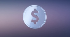Coin Dollar Silver 3d Icon Stock Footage