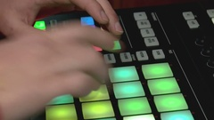 The sound producer remotely works with a sound on a stage using the touchpad Stock Footage