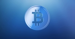 Coin Bitcoin Blue 3d Icon Stock Footage