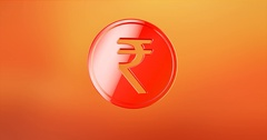 Coin Indian Rupee Red 3d Icon Stock Footage