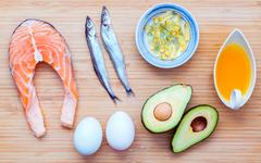 Selection food sources of omega 3 and unsaturated fats. Super food high vit.. Stock Photos