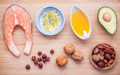 Selection food sources of omega 3 and unsaturated fats. Superfood high vita.. Stock Photos