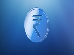 Coin Indian Rupee Blue 3d Icon Stock Footage