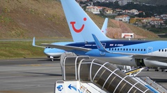 Zoom In a Boeing 737 SE-DZV by TUIfly Nordic Taxi at Funchal Airport 4K Stock Footage