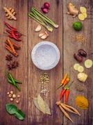 Various of Thai food Cooking ingredients and spice red curry paste ingredie.. Stock Photos