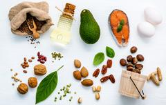 Selection food sources of omega 3 . Superfood high unsaturated fats for hea.. Stock Photos