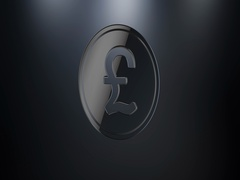 Coin Great Britain Pound Black 3d Icon Stock Footage