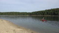 Kayaking on Walden Pond, MA, United States. Stock Footage
