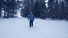 Skiing in the forest Stock Footage