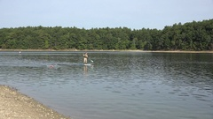 Water sports on Walden Pond, MA, United States. Stock Footage
