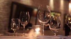 Romantic restaurant interior evening Stock Footage