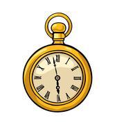 Antique pocket watch. Vector color flat illustration. Stock Illustration