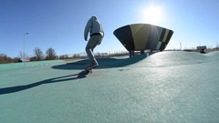 A skateboarder doing a trick. Stock Footage