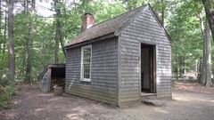 Thoreau's small cabin, Walden Pond, MA, United States. Stock Footage
