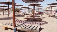 Beach umbrellas in Red Sea Stock Footage