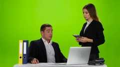 Boss department woman came to the verify important data Stock Footage