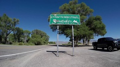EXTRATERRESTRIAL HIGHWAY, NV - JUNE  24, 2016: Extraterrestrial Highway sign. Stock Footage