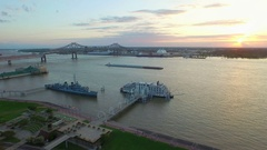 River cruise boat sunset mississippi river baton rouge louisiana aerial drone Stock Footage