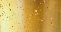 Valentine day golden hearts shape rise like frizz champagne bubbles movement Stock Footage