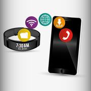 Smartphone and smart wristband sharing application Stock Illustration