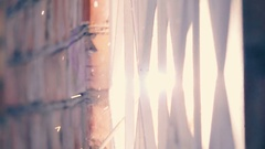 Welder welds the bars on the window opening, slow motion Stock Footage